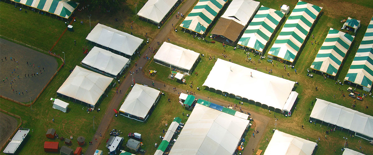 Somerset 4-H county fair tents from a bird's eye view.